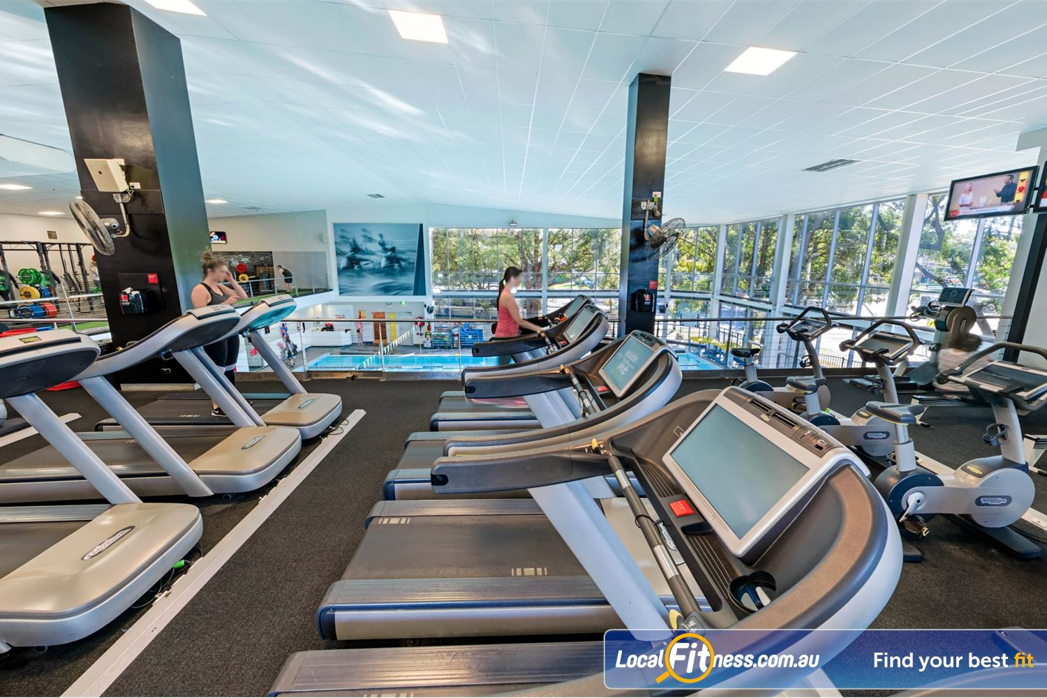Fitness First Near Kareela Relaxing views of our swimming pool from our cardio area.