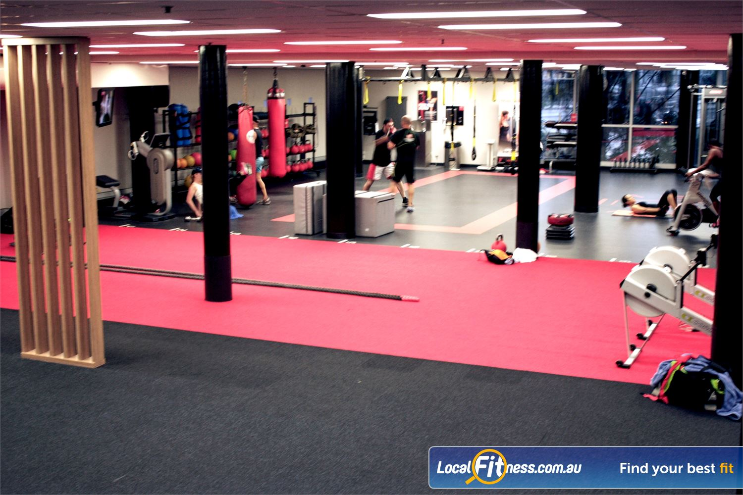 Fitness First Sylvania The freestyle training zone fully equipped with boxing bags, TRX, kettlebells and more.