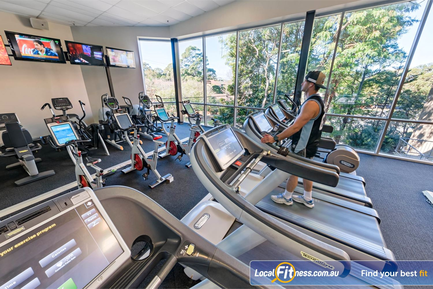 Fitness First Near Caravan Head State of the art cardio with personal entertainment screens.