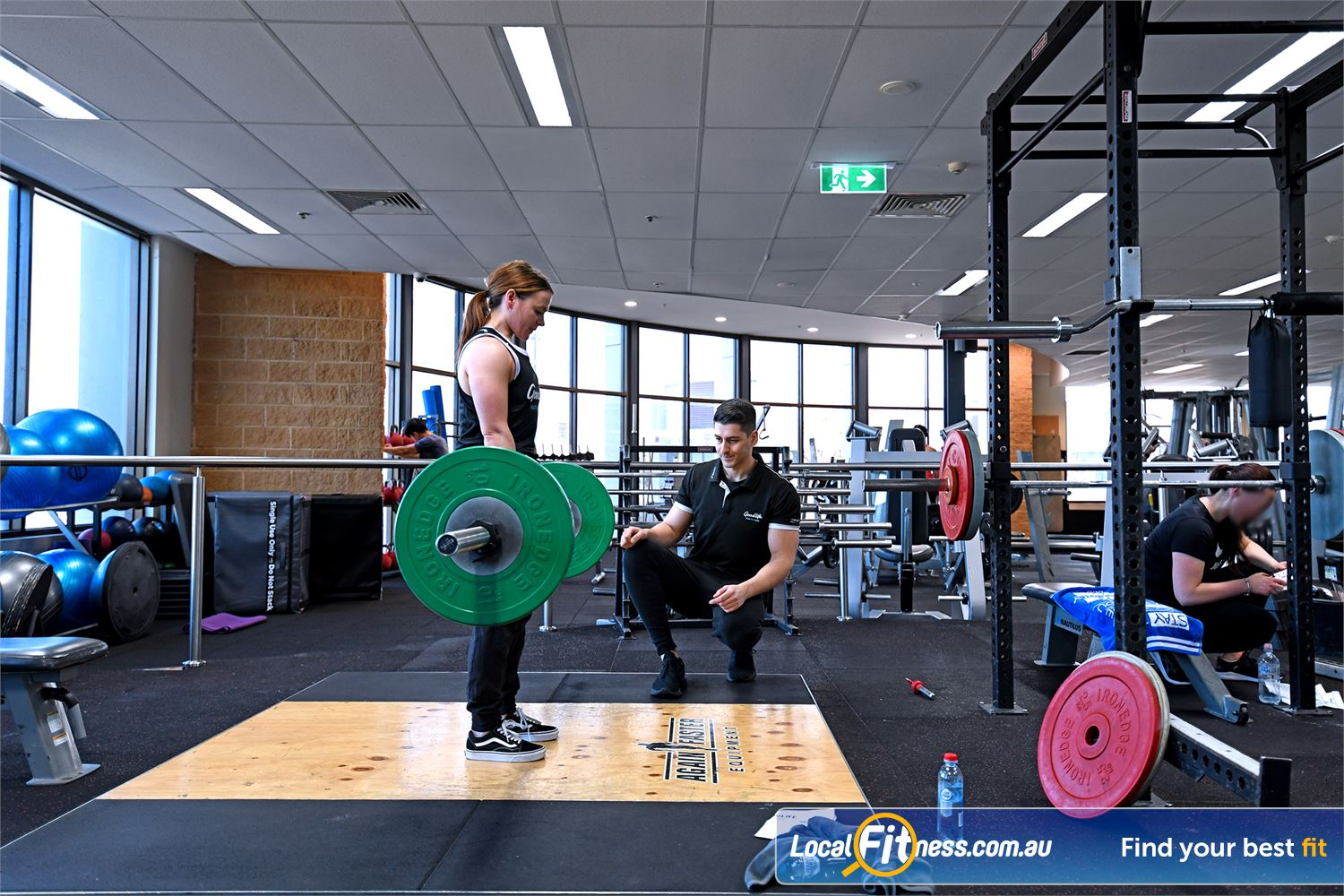 Goodlife Health Clubs Near Brooklyn Lifting platform and racks for strength training in Point Cook.