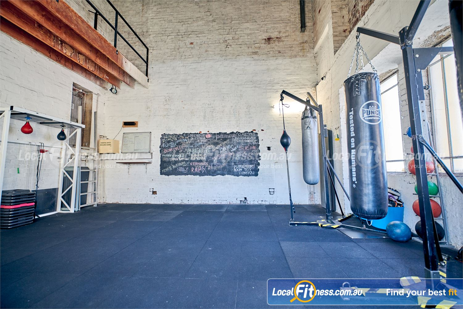 Goodlife Health Clubs Prahran Dedicated Prahran boxing area with speedballs, floor to ceiling balls and heavy bags.