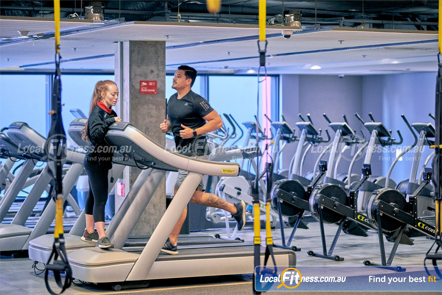 Fitness First Parramatta Rows of cardio machines are available.