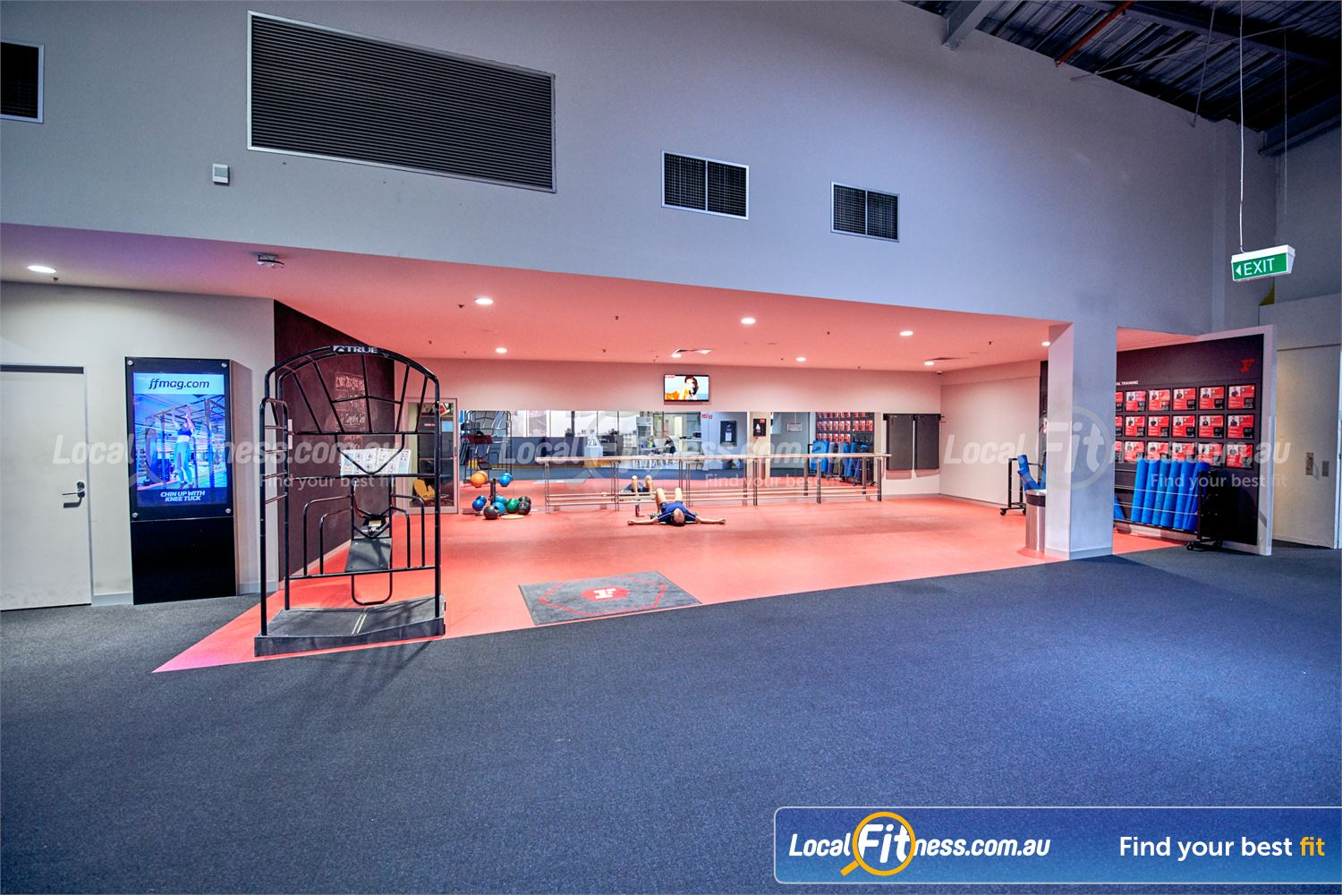 Fitness First Platinum Near South Yarra Dedicated ab, recovery and stretching zone.