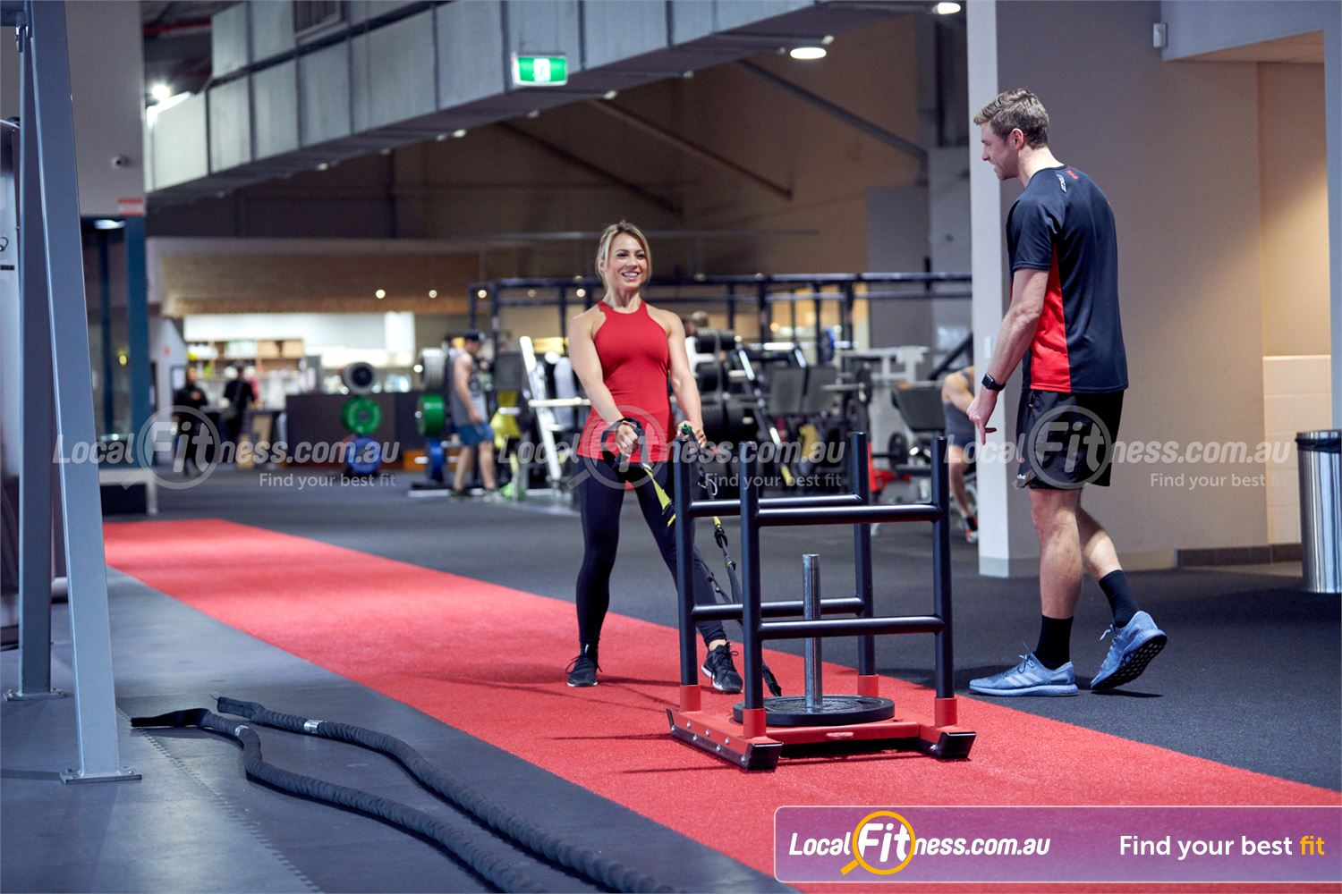 Fitness First Platinum Richmond The indoor sled track will help your workouts stay functional.