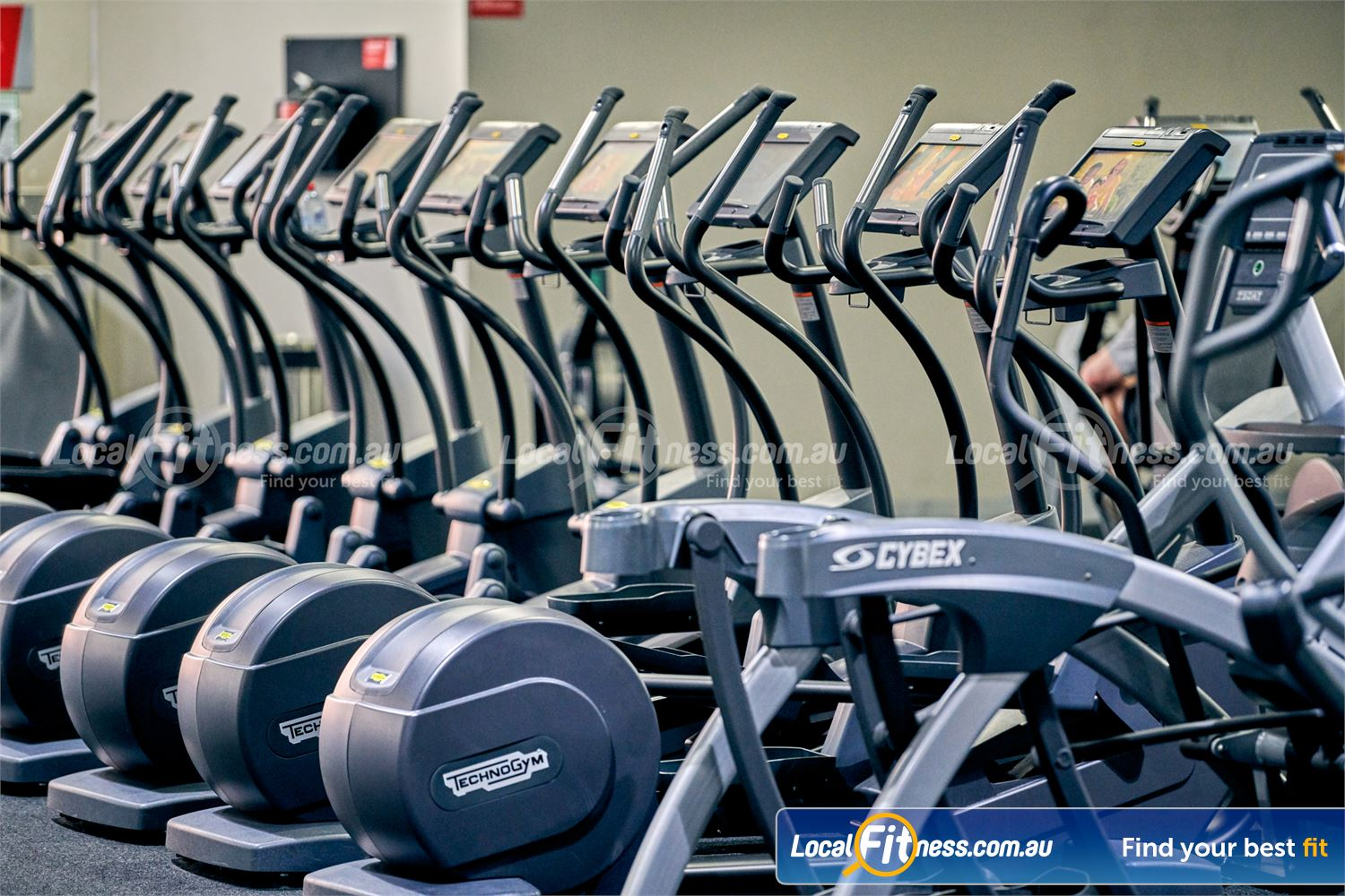 Fitness First Platinum Near Richmond North Expansive cardio area with a multitude of cross-trainers.