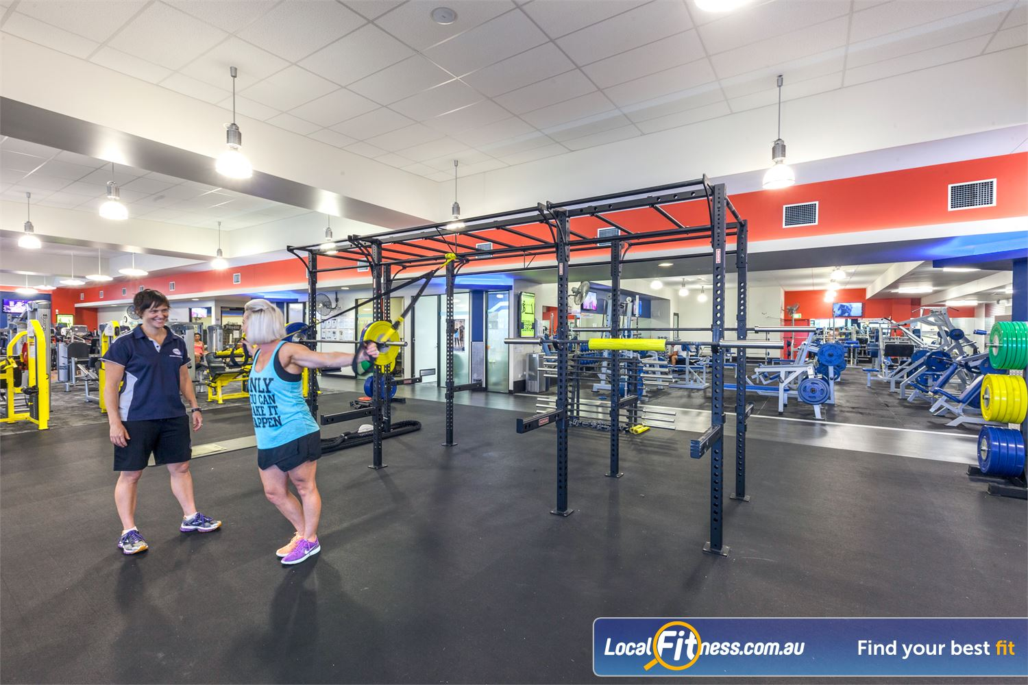 Goodlife Health Clubs Near Moffat Beach Incorporate functional training with TRX.