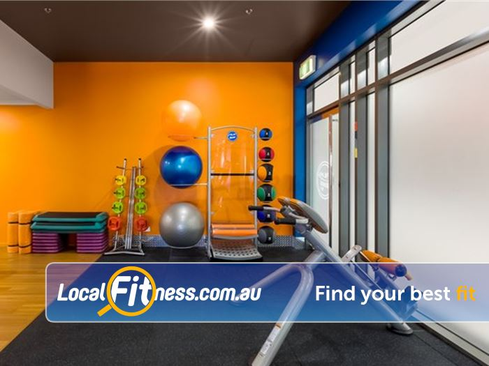 Plus Fitness 24/7 Near The Basin Dedicated abs and stretching area.