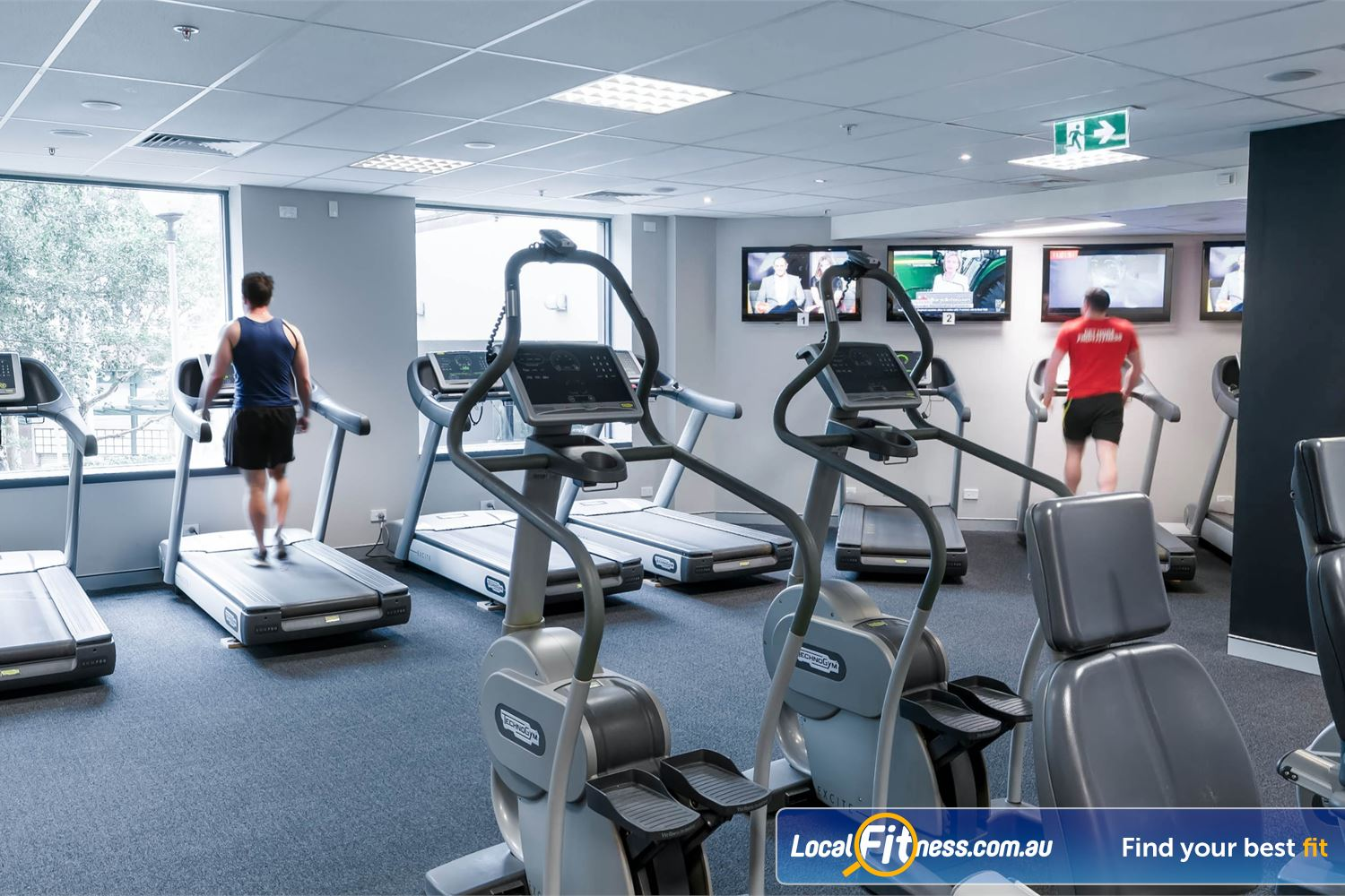 Fitness First Elizabeth Plaza North Sydney The dedicated cardio theatre at Fitness First North Sydney.