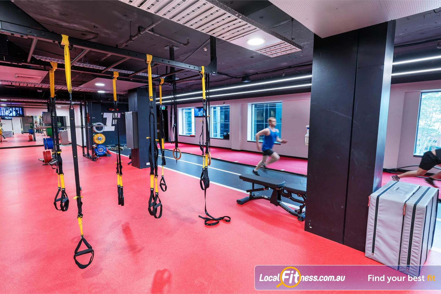 Fitness First Elizabeth Plaza Near Milsons Point Work your core with TRX training on test your sprints on our sprint track.