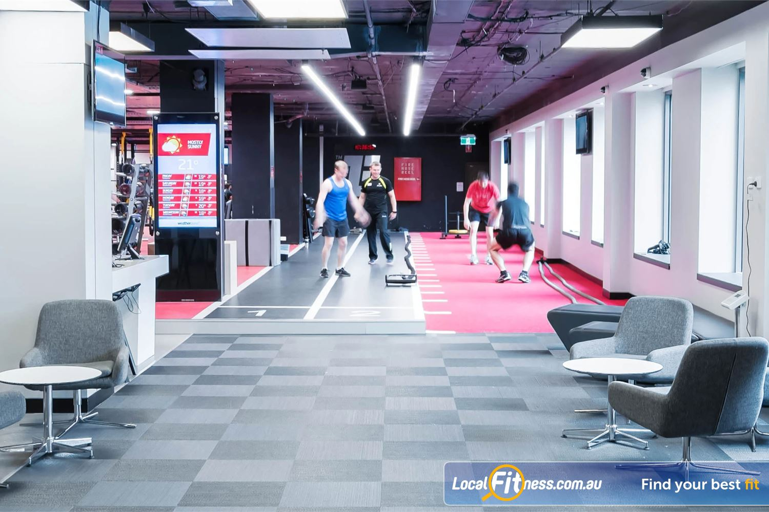 Fitness First Elizabeth Plaza North Sydney Indoor sled and sprint track plus battle rope training at Fitness First North Sydney.