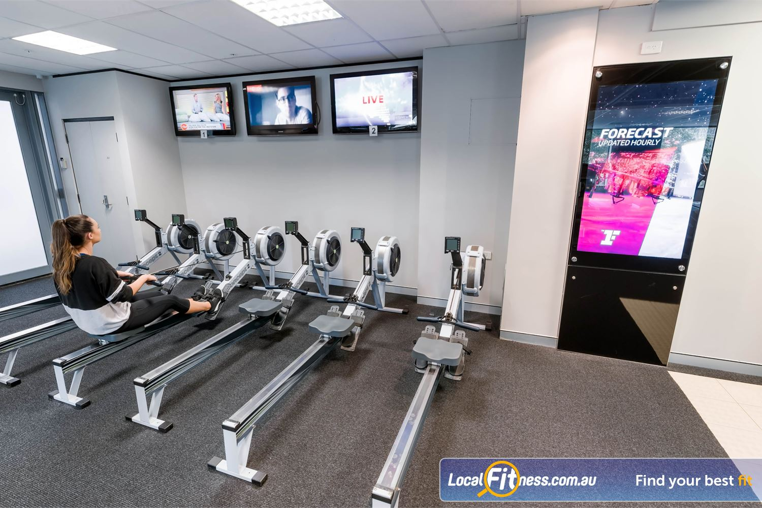 Fitness First Elizabeth Plaza Near Kirribilli Rows of rowing machines so you don't have to wait.
