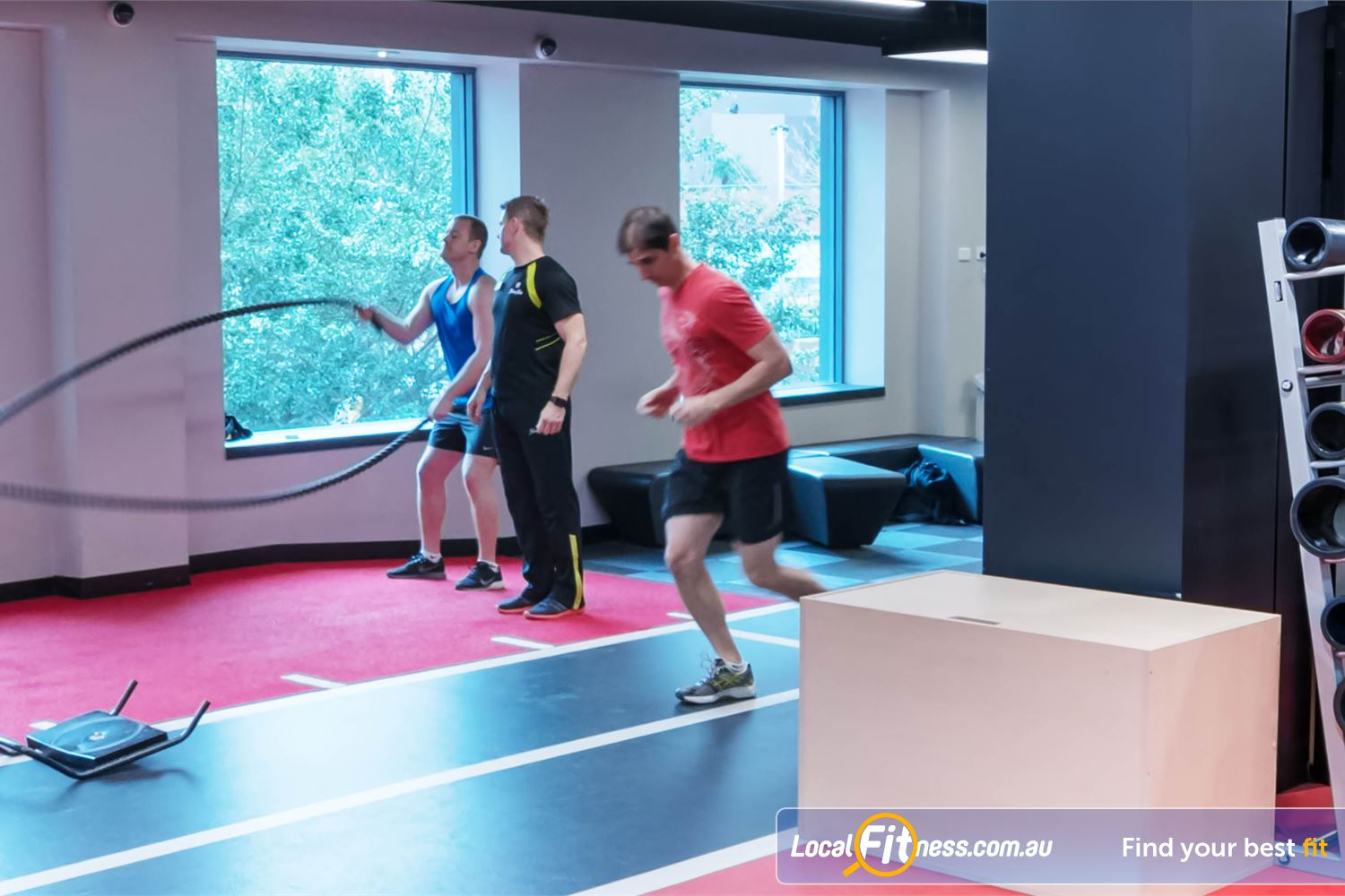 Fitness First Elizabeth Plaza North Sydney challenge your fitness with indoor sprints and battle rope training.