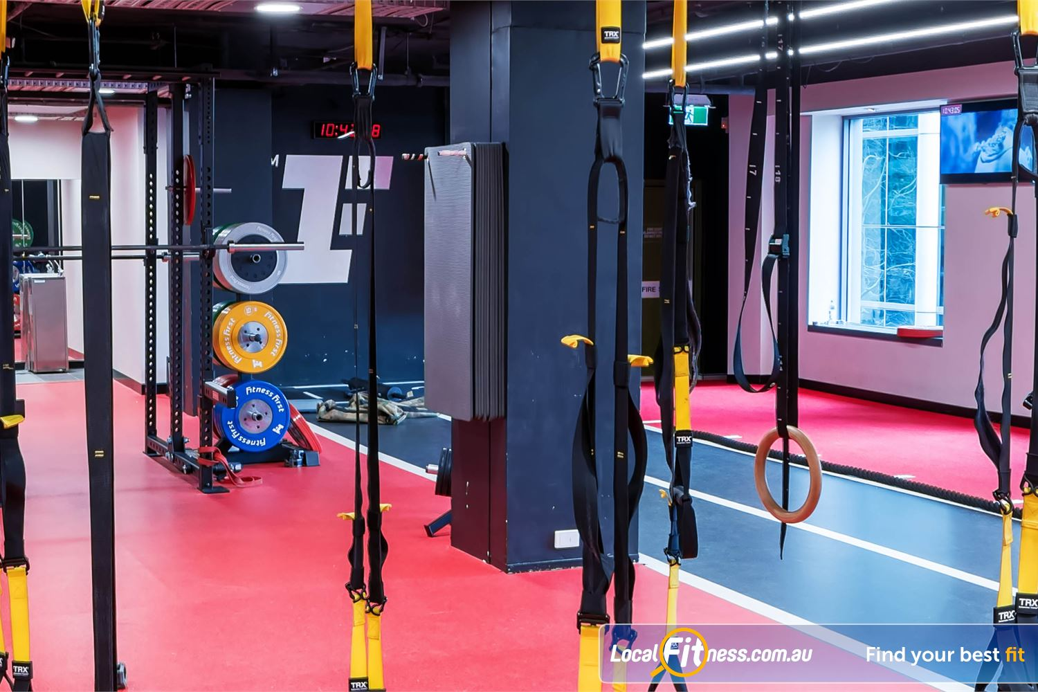 Fitness First Elizabeth Plaza Near Waverton Work your core and stability with TRX and gymnastic ring training.