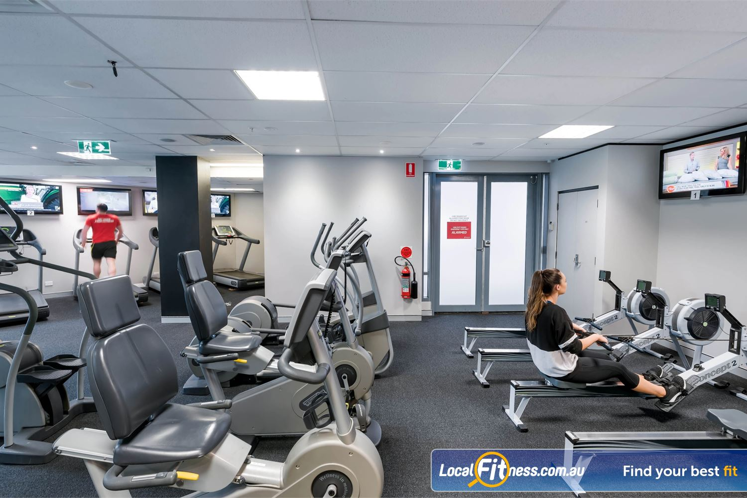 Fitness First Elizabeth Plaza Near Kirribilli The fully equipped cardio area at Fitness First North Sydney gym.