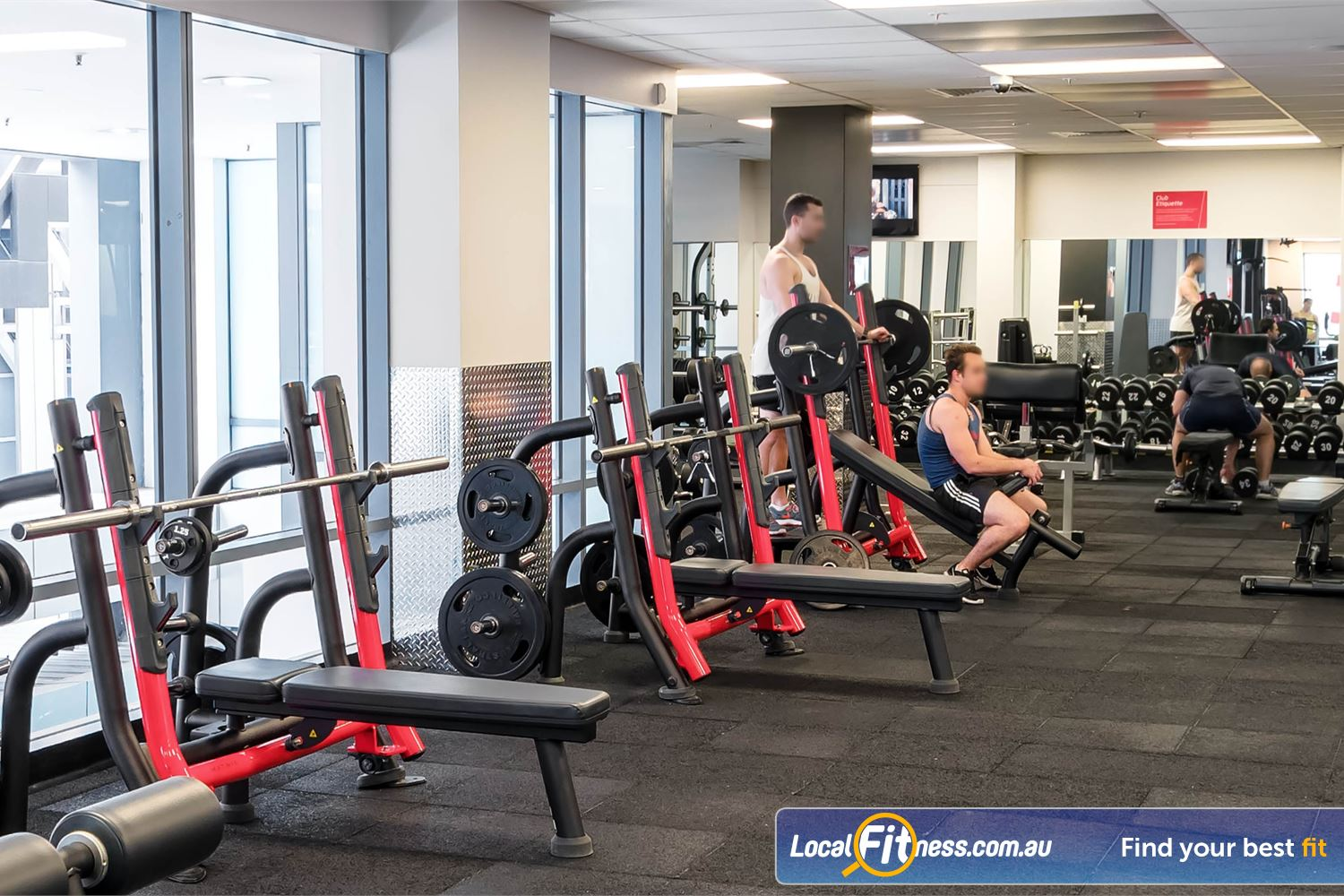 Fitness First Elizabeth Plaza North Sydney Multiple bench presses, power racks, plate loading machines and more.