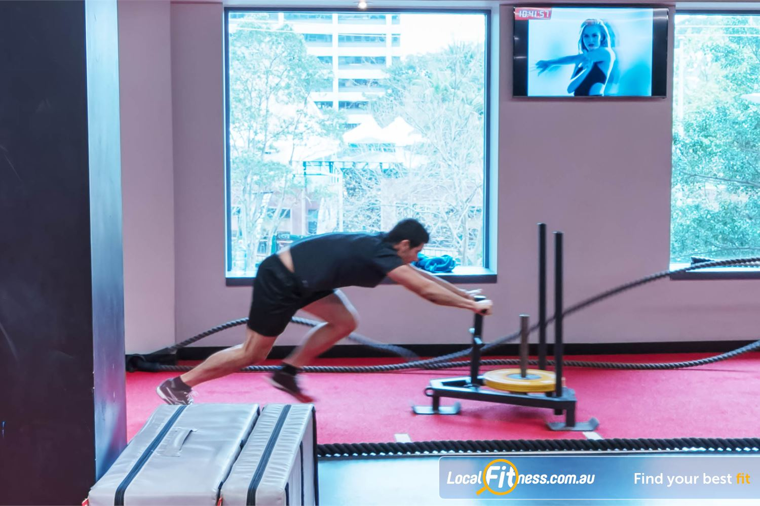 Fitness First Elizabeth Plaza Near Waverton Improve your conditioning with prowler runs on our sled track.