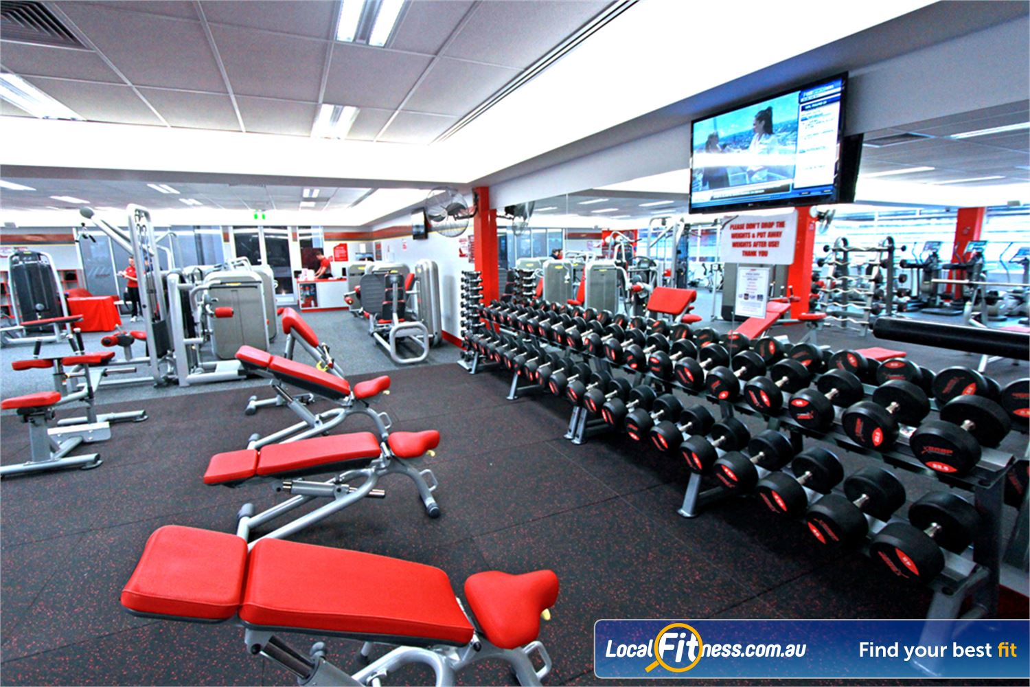 Snap Fitness Near Mount Ommaney The comprehensive free-weights area in our 24 hour Jindalee gym.