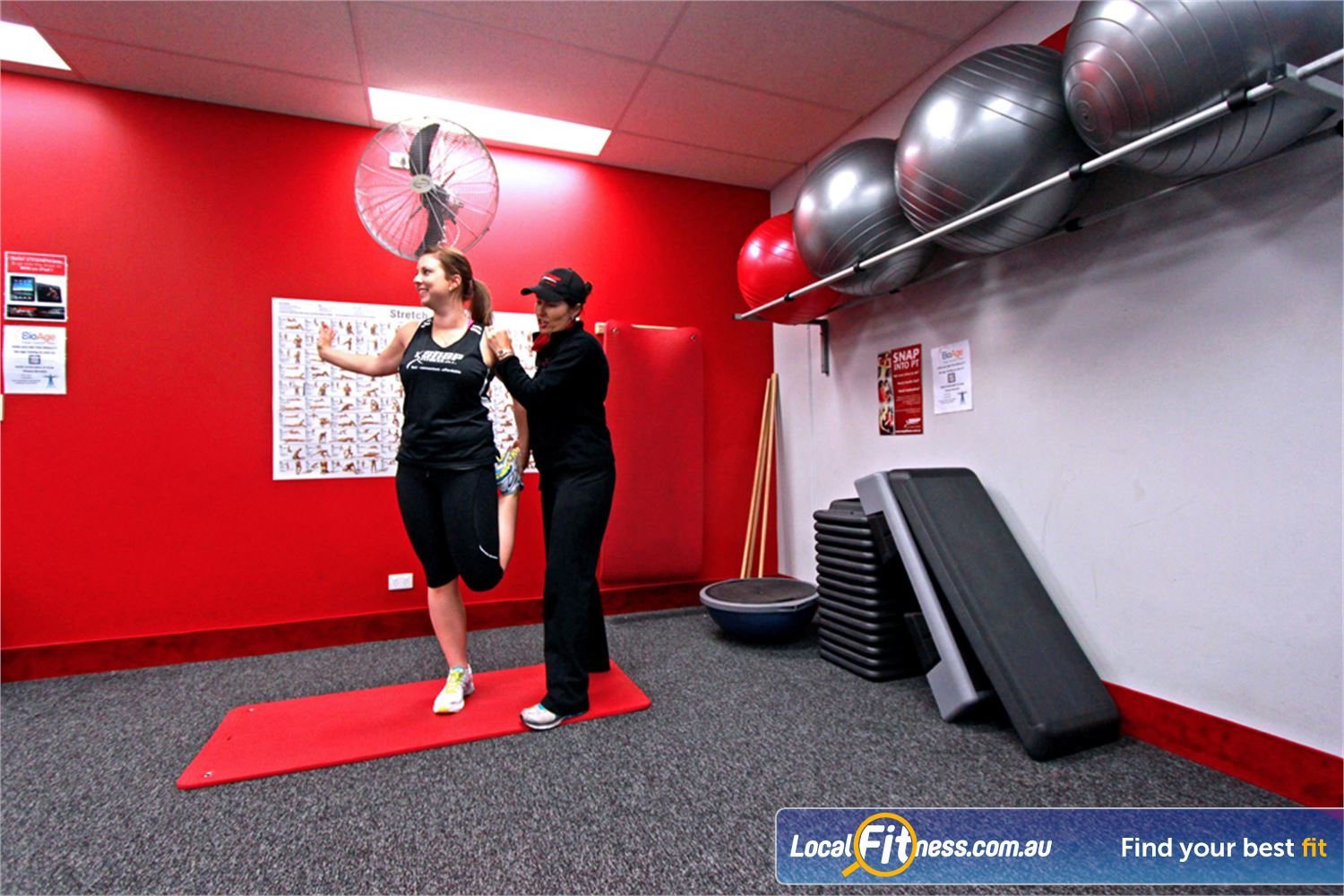 Snap Fitness Near Westlake Dedicated stretching and ab area.