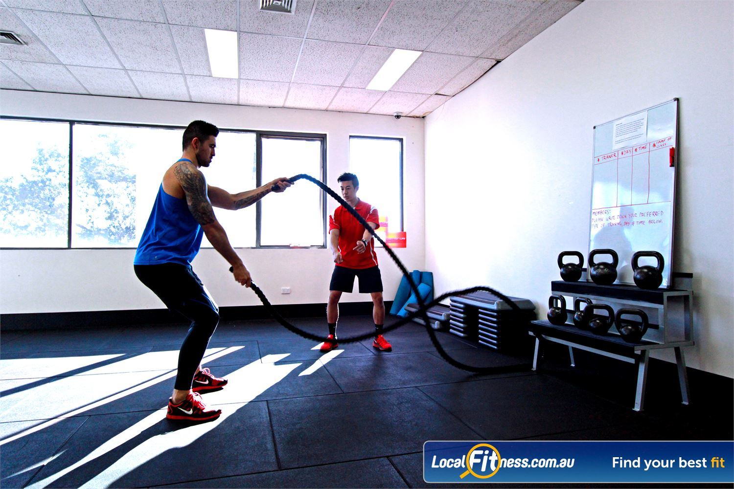 Carlton Fitness Gym Near Princes Hill Our gym staff will show you how to use battle ropes.