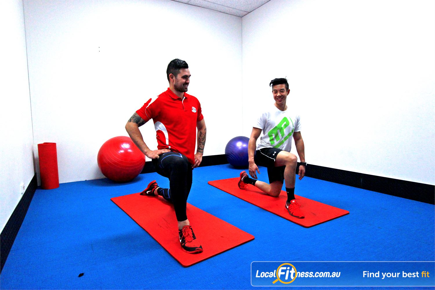 Carlton Fitness Gym Near Brunswick Dedicated abs and stretching zone with fitballs and mats.