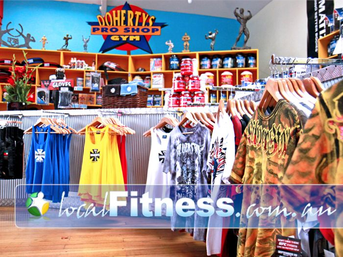 Doherty's Gym Brunswick Fully stocked pro shop with popular brands.