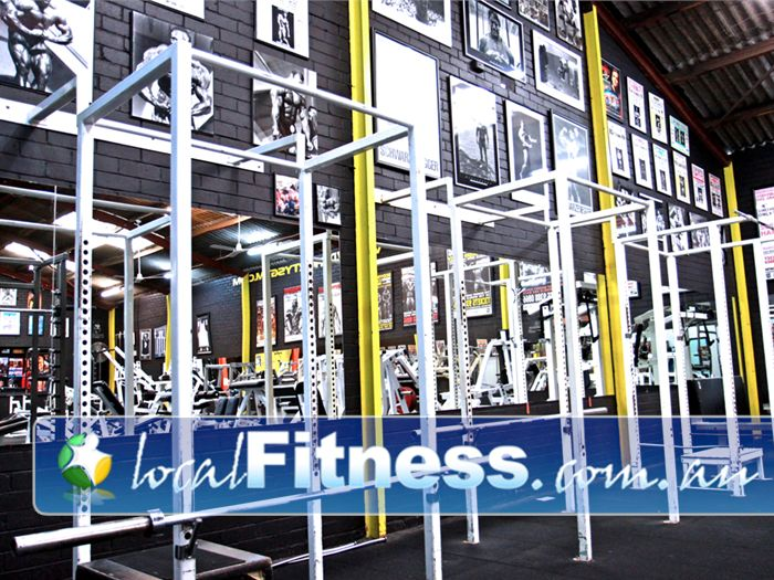 Doherty's Gym Brunswick Heavy duty squat racks.
