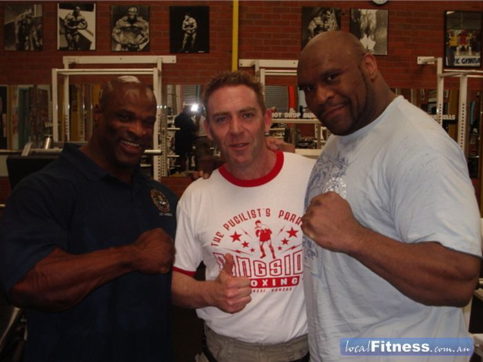 Doherty's Gym Near Moreland Ronnie Coleman, Tony Doherty and Bob Sapp.
