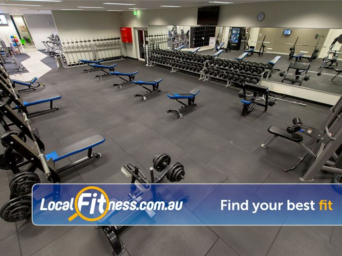 Genesis Fitness Clubs Belmont The spacious free-weights training area in our Belmont gym.