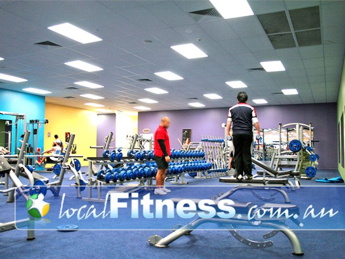 Genesis Fitness Clubs Near Junction Village A fully equipped free-weights area in our Cranbourne gym.