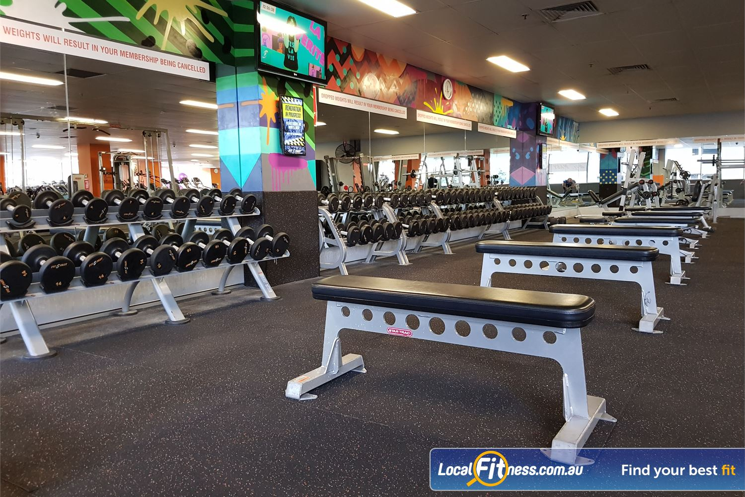 Fit n Fast Near Burwood Heights Dubbells, barbells, benches and more in our free-weights area.