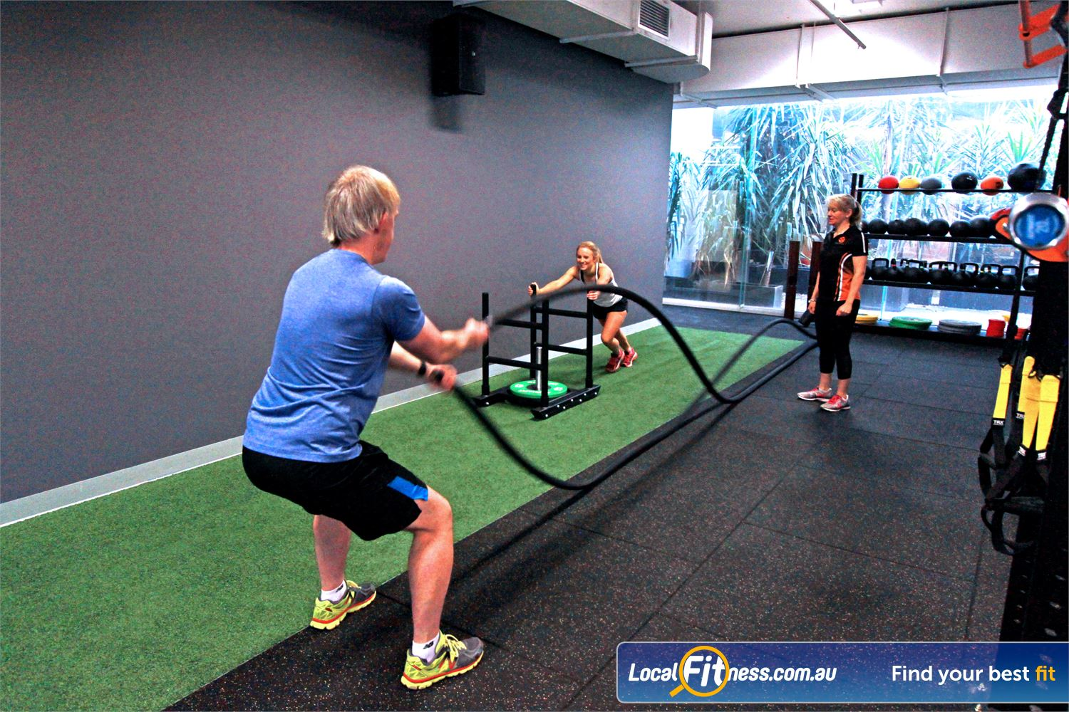 South Pacific Health Clubs Near Parkdale Our Mentone HIIT gym area includes a indoor sled track.