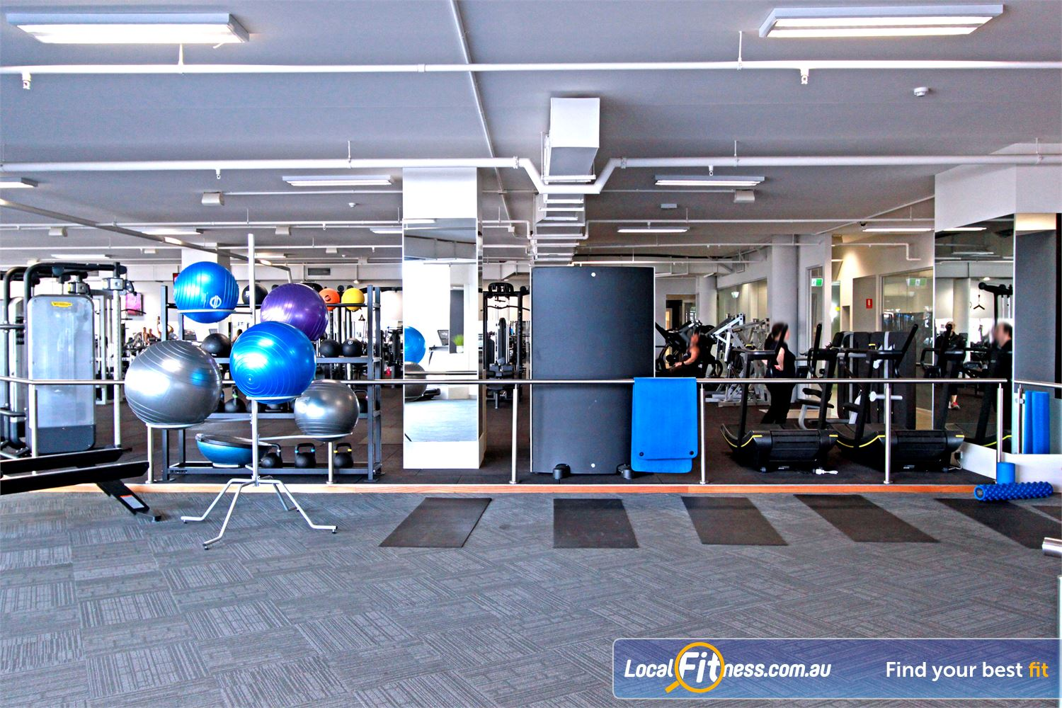 South Pacific Health Clubs Mentone Stretching zone with mats, fitballs, foam rollers and more.
