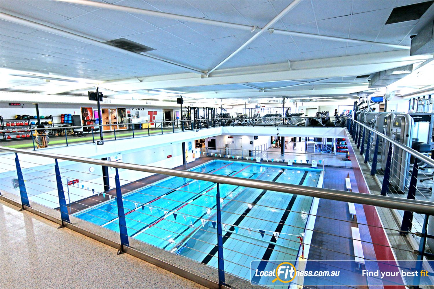 Fitness First Near Gordon Park The beautiful Lutwyche gym setup surrounding our swimming pool.