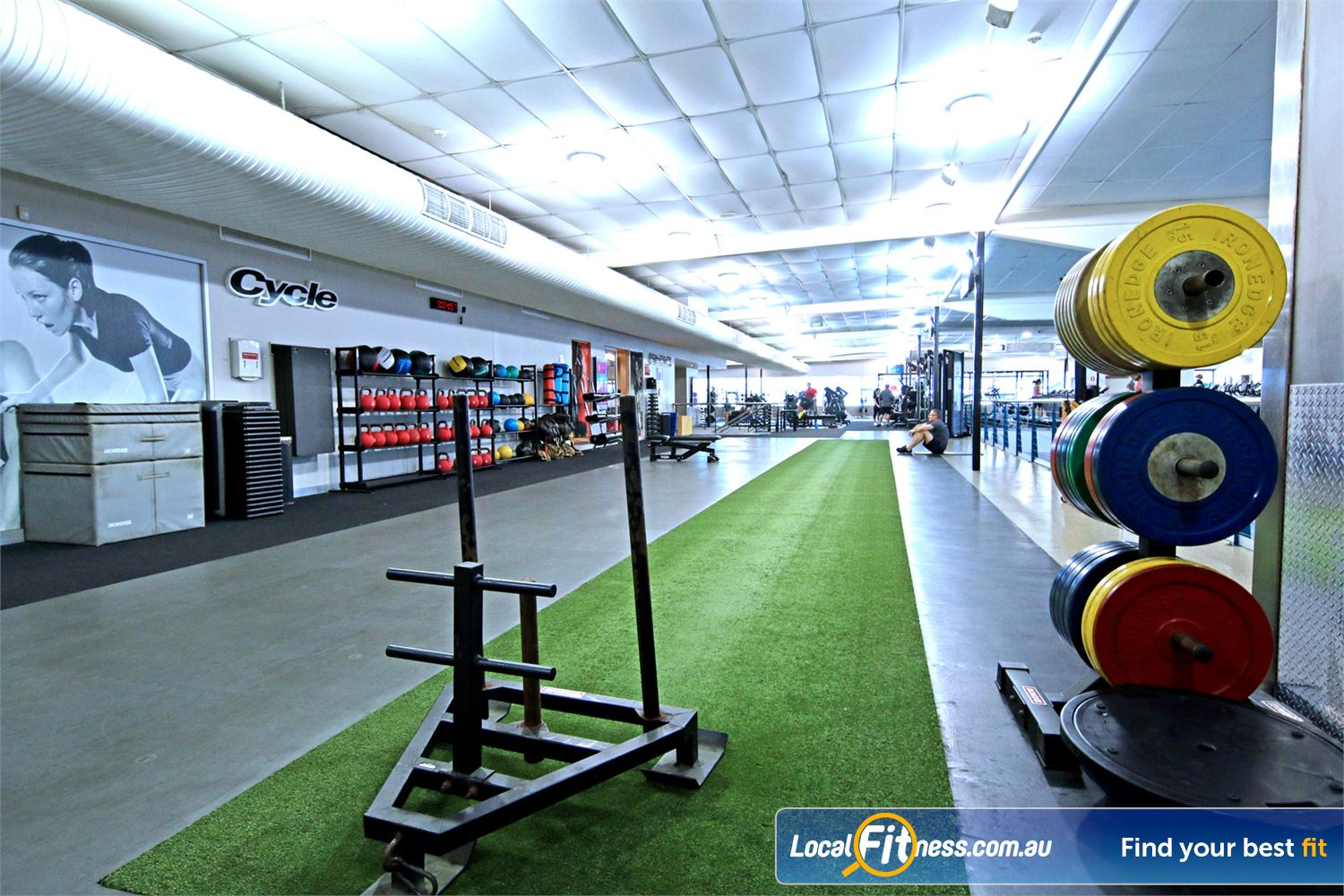 Fitness First Near Windsor The functional freestyle area with grass running/sled track.