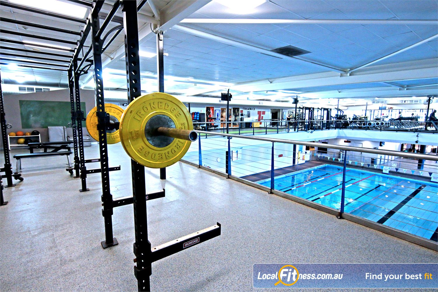 Fitness First Near Windsor Multiple heavy duty lifting racks for squats, benching and more.