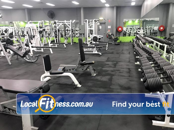 ENRG Fitness 24/7 Near Montrose Fully equipped free-weights area with dumbbells from 1kg up to 90kg.