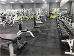 Fully equipped free-weights area with dumbbells from 1kg