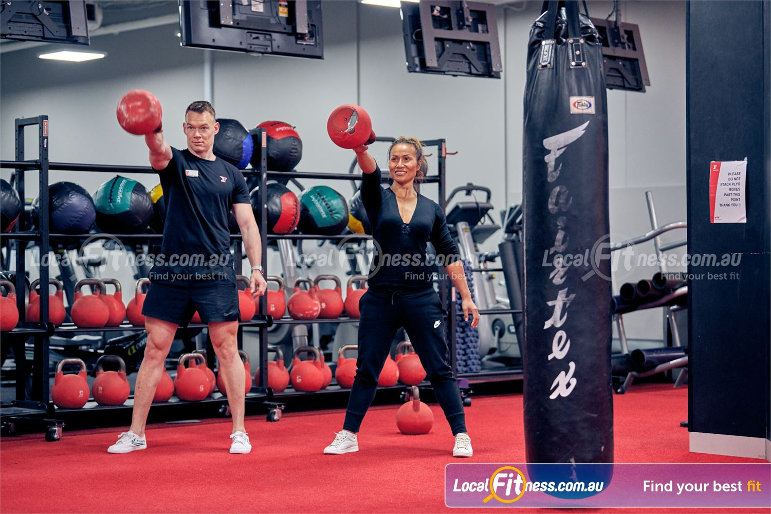 Fitness First Melbourne Central Platinum Melbourne Our free-weights area is fully equipped with kettlebells.