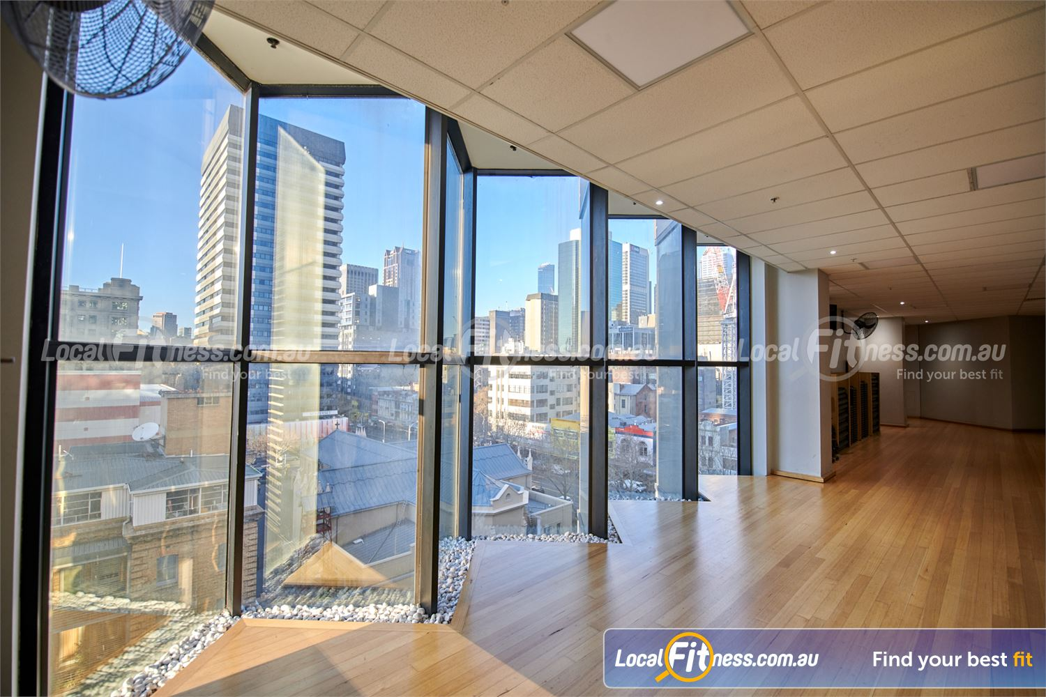 Fitness First Melbourne Central Platinum Near East Melbourne Stunning views from the Melbourne group fitness studio at Fitness First.