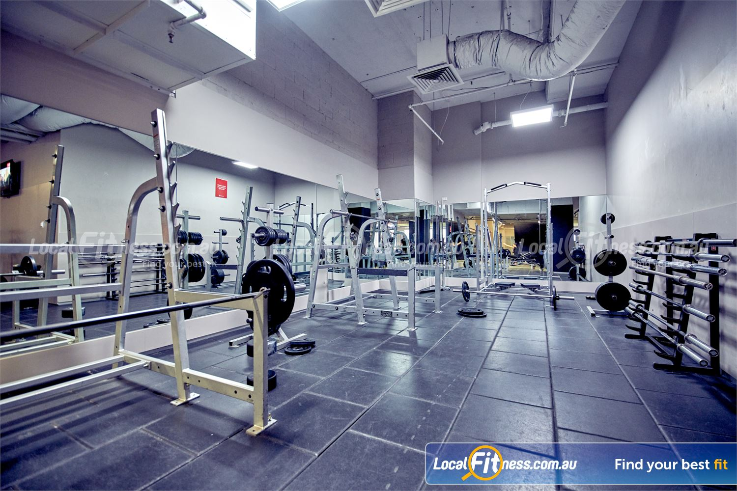 Fitness First Melbourne Central Platinum Near Southbank Multiple half and full racks with a range of specialty training bars.