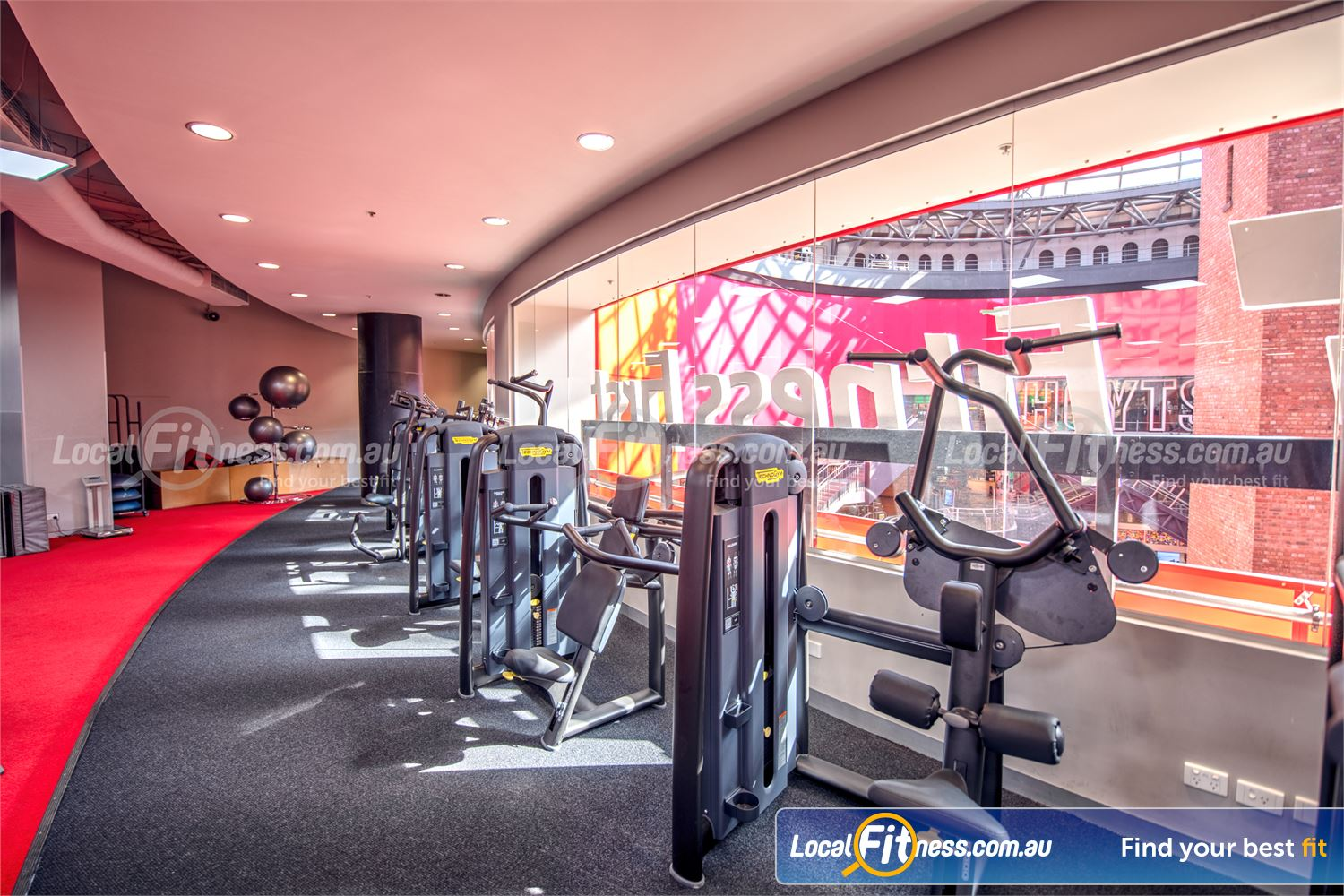 Fitness First Melbourne Central Platinum Melbourne State of the art pin-loading machines from Technogym.