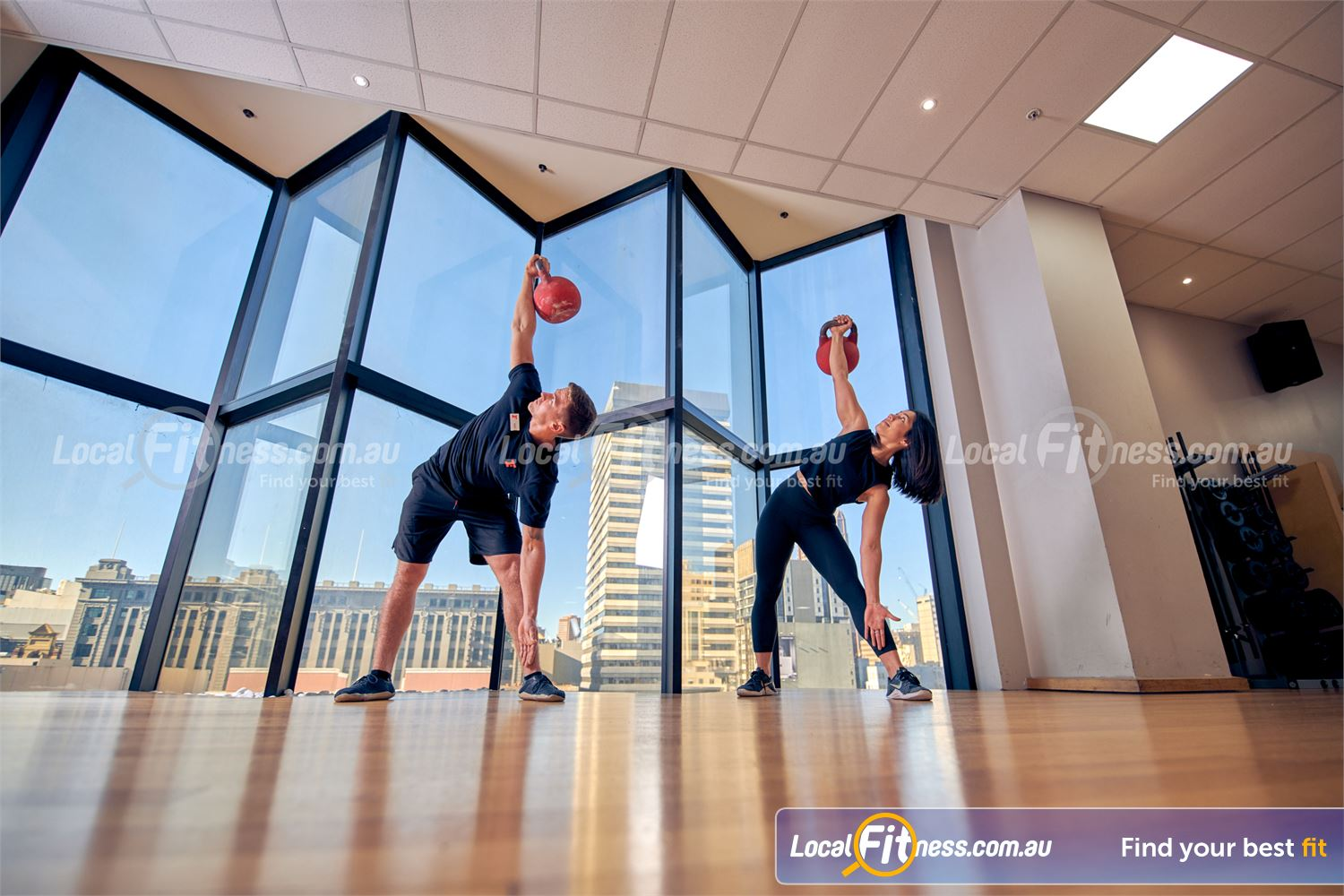 Fitness First Melbourne Central Platinum Near East Melbourne Improve your stability and strength with kettlebell windmills.