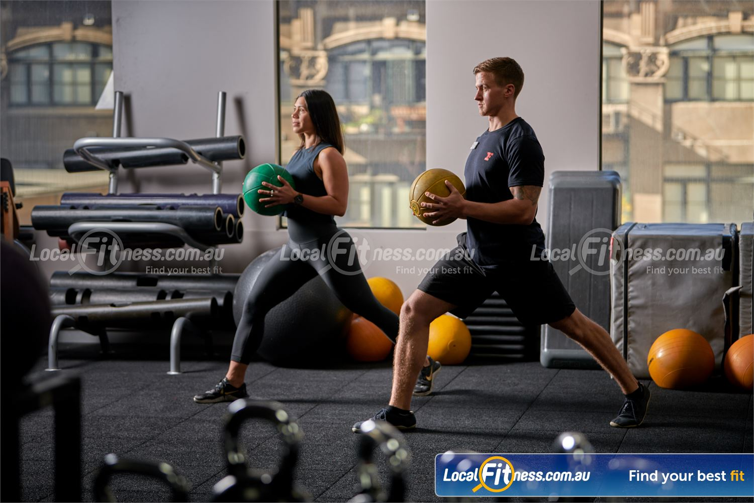 Fitness First Melbourne Central Platinum Near Southbank Dedicated ab and stretching zone.