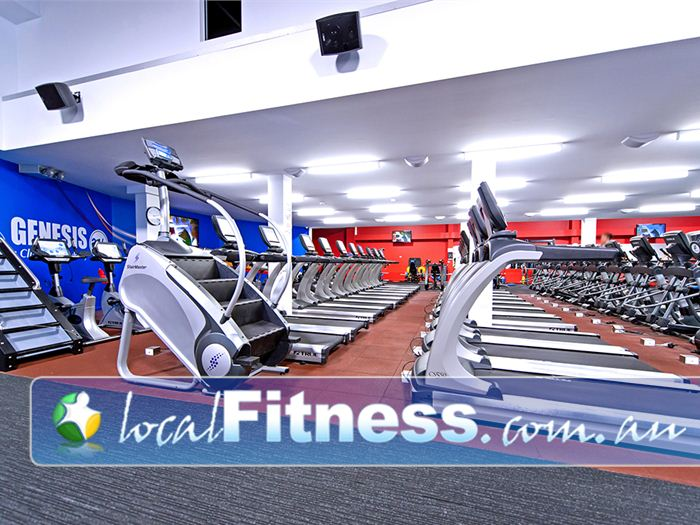 Genesis Fitness Clubs Near Sandgate Genesis Mayfield provides a state of the art Cardio theatre setup.