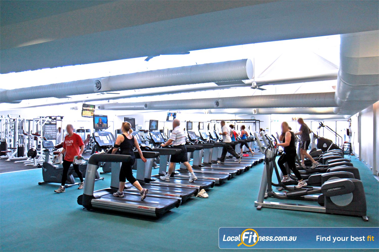 Ascot Vale Leisure Centre Ascot Vale The spacious cardio theatre part of the 1000 sq/m Ascot Vale gym space.