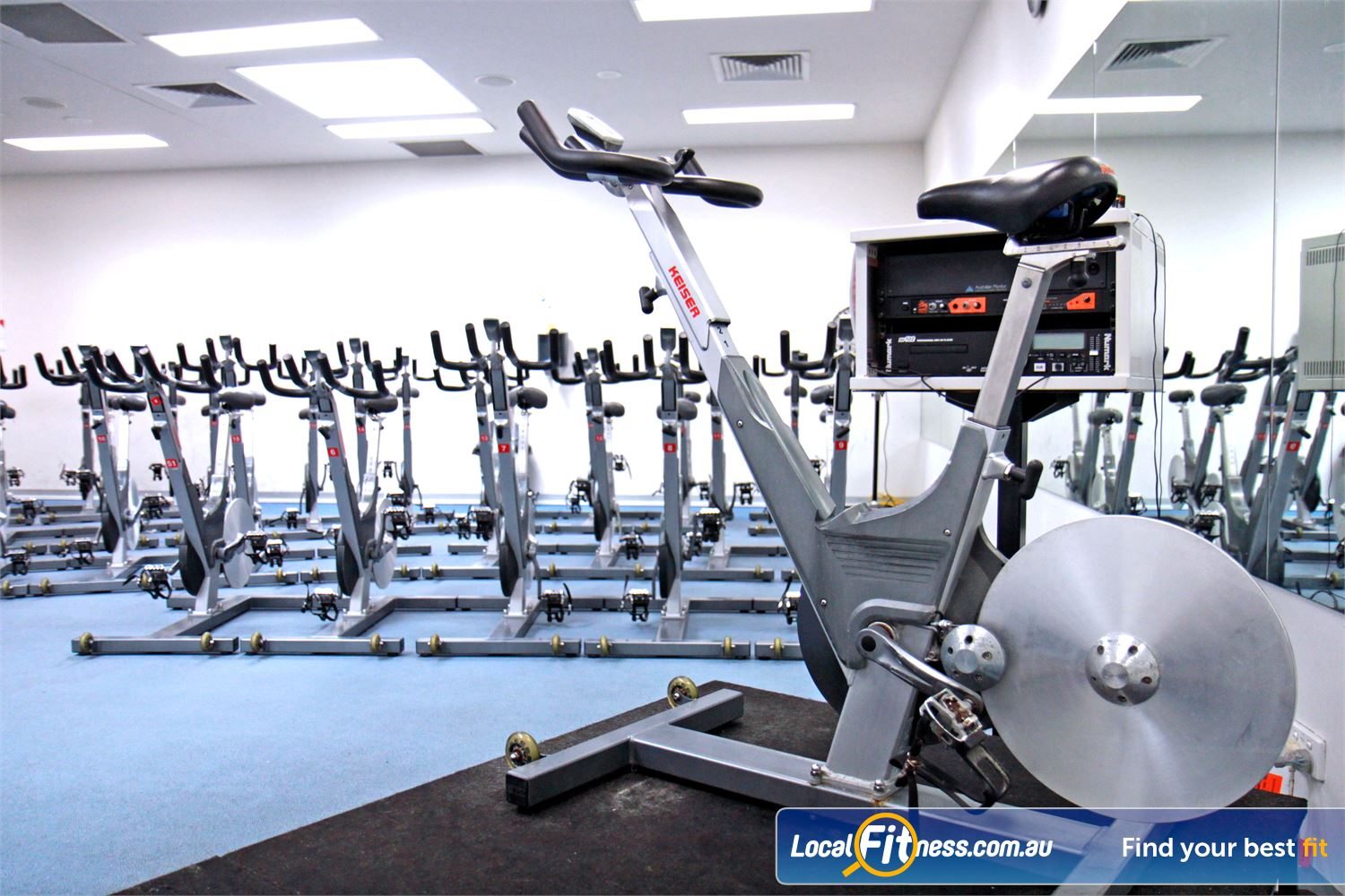Ascot Vale Leisure Centre Near Moonee Ponds State of the art Keiser cycle bikes with individual digital screen.