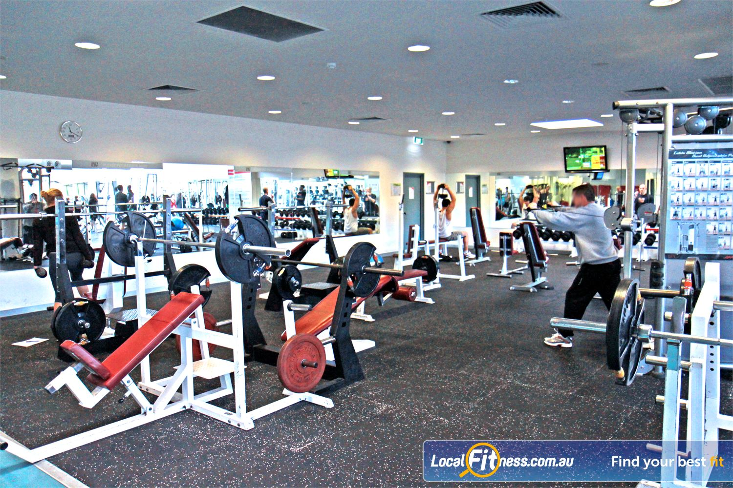 Ascot Vale Leisure Centre Ascot Vale Fully equipped Ascot Vale free-weights area.