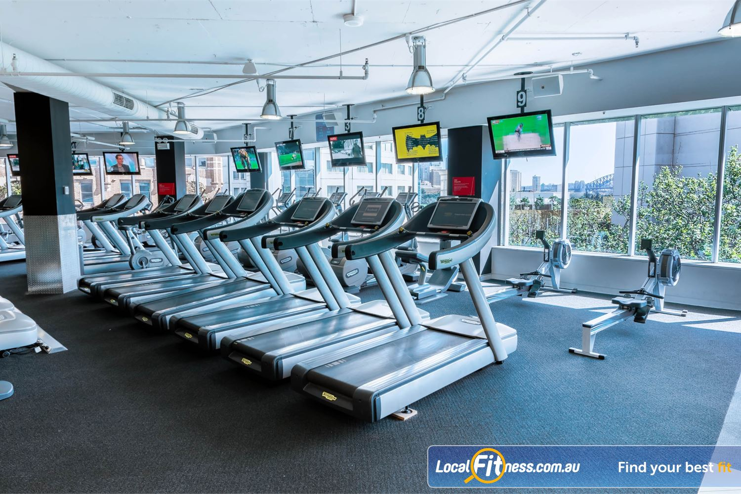 Fitness First Platinum Kings Cross Near Woolloomooloo Unique Sydney Harbour views from our cardio training area.