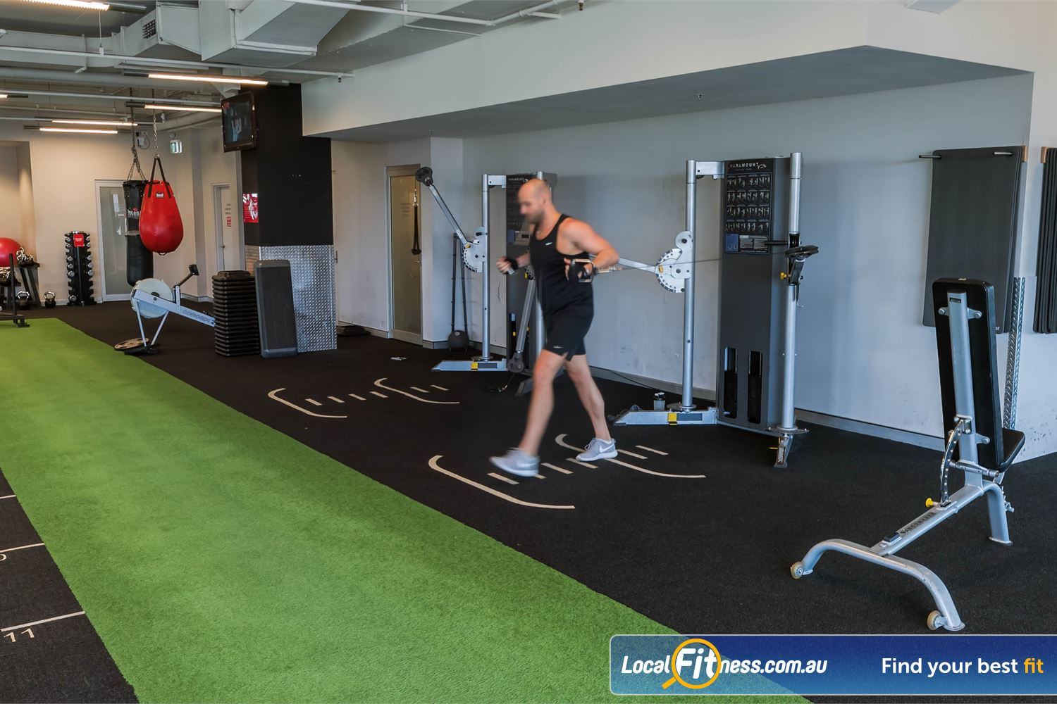 Fitness First Platinum Kings Cross Potts Point Indoor sled track perfect for sprints and sled strength training.