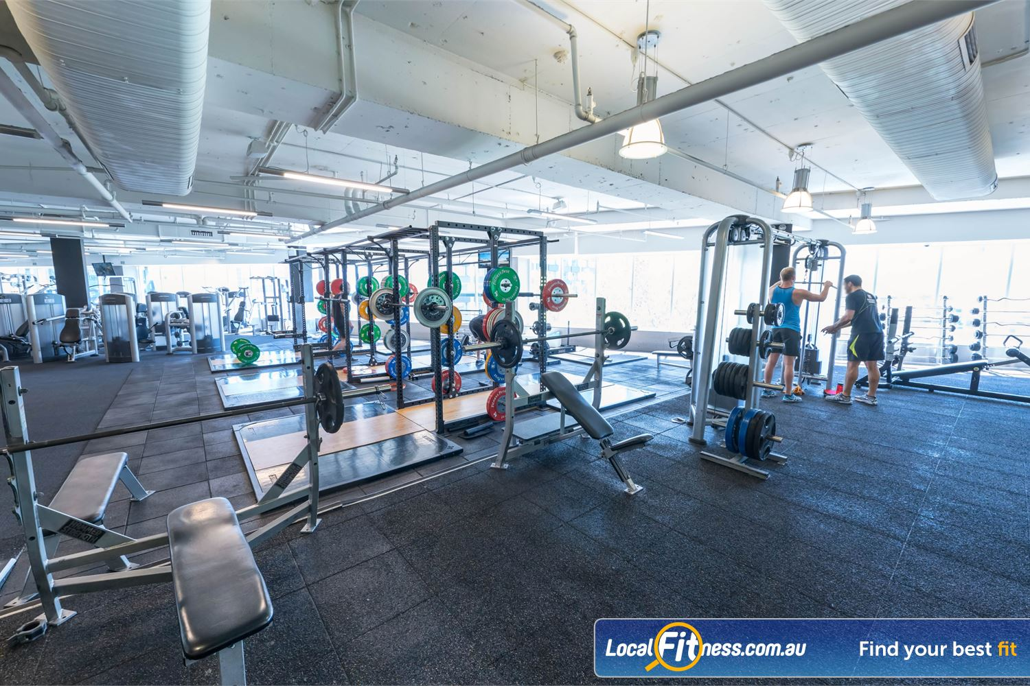 Fitness First Platinum Kings Cross Potts Point 7 lifting platforms, multipurpose lifting cages perfect for deadlifts, squats and more.